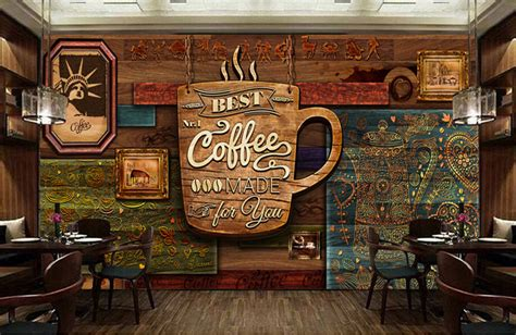 pattern coffee house custom food store wallpaper wood pattern coffee 3d retro