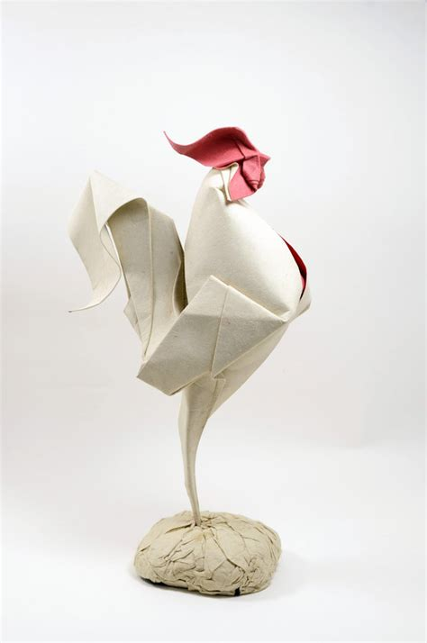 Origami Sculpture - origami rooster 2014 by htquyet on deviantart