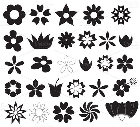 flowers silhouettes vector shapes illustrations on