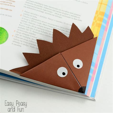 Simple Origami Bookmark - hedgehog corner bookmark origami for easy peasy