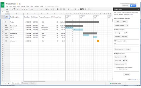 Projectsheet Planning Google Sheets Add On Sheets Project Plan Template