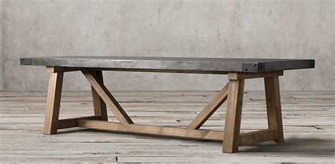 restoration hardware wood table salvaged wood concrete beam rectangular table
