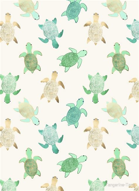 Patterned Duvet Quot Gilded Jade Amp Mint Turtles Quot By Tangerine Tane Redbubble