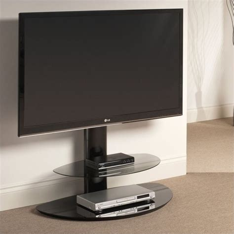 two shelf pedestal tv stand in black st90d2