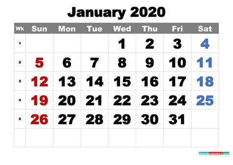 printable january  calendar word  image