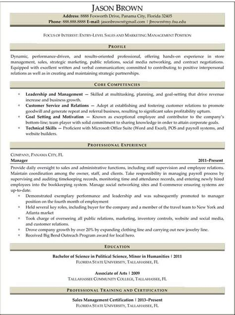 Entry Level Sales Resume by Entry Level Marketing Resume Sles Entry Level Sales