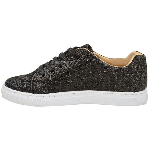 womens glitter sneakers womens flat lace up glitter sparkly trainers