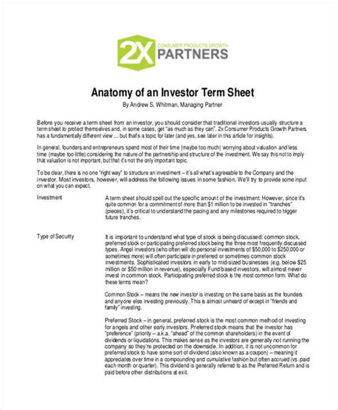 Investment Term Sheet Template by 38 Sheet Sles Templates In Pdf