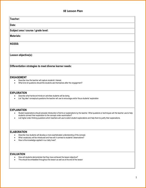 lesson preparation template 5e student lesson planning template as doc