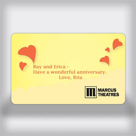 Marcus Theatre Gift Cards - marcus theatres custom movie gift card heart edition