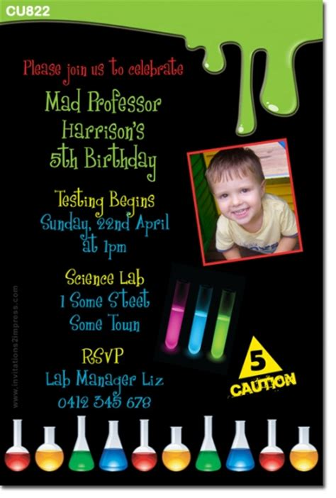 Mens Kitchen Ideas Cu822 Kids Science Themed Birthday Invitation Boys