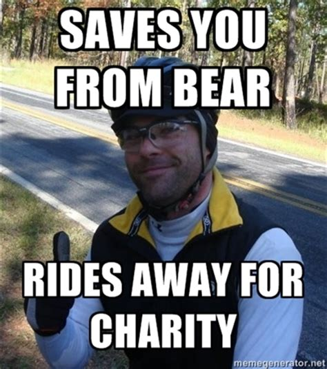 Charity Meme - good guy josh saves you from bear rides away for charity