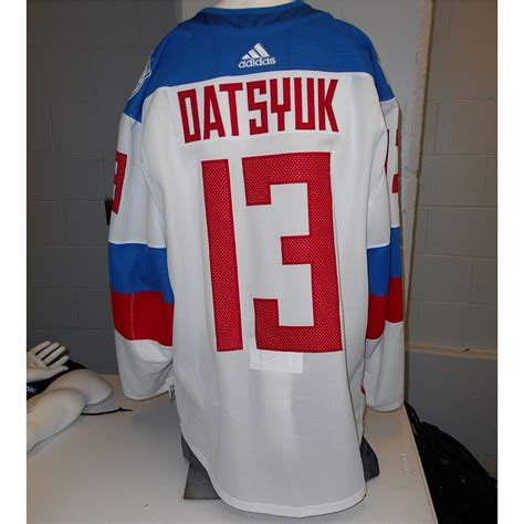 Jersey Prancis Away Cup 2016 pavel datsyuk used away 2016 world cup of hockey team russia jersey nhl auctions