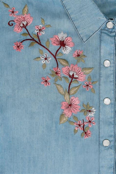 embroidery denim blue denim longline shirt with floral embroidery plus