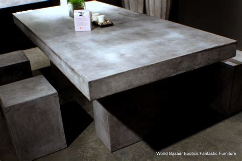 "94"" L dining table desk solid concrete cement modern"