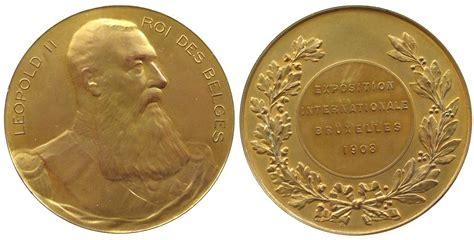 möbel in belgien medaille 1908 belgien bronze vergoldet leopold ii 1835