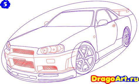 nissan skyline drawing step by step how to draw a nissan skyline step by step