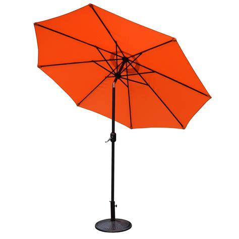 Base For Patio Umbrella 9 Ft Tilt Patio Umbrella With Cast Iron Patio Umbrella Base Hd4005ork4230ab The Home Depot