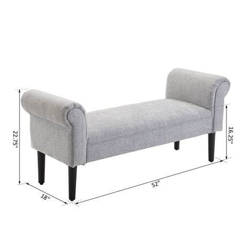 modern sofa bench 52 quot modern rolled arm bench bed end ottoman sofa seat