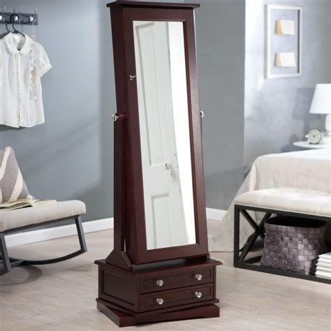 floor jewelry armoire with mirror large floor mirror with jewelry storage home design ideas