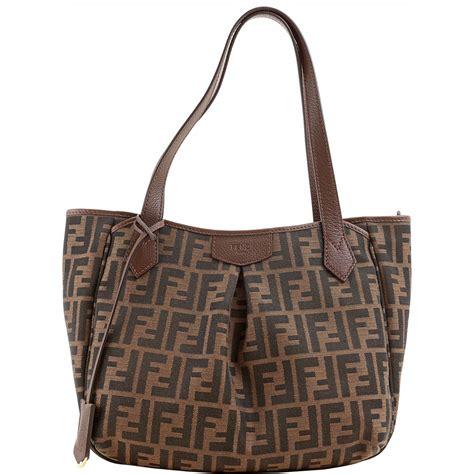 Jacquard Shoulder Bag by Authentic Fendi Jacquard Zucca Logo Shoulder Bag 8bh268