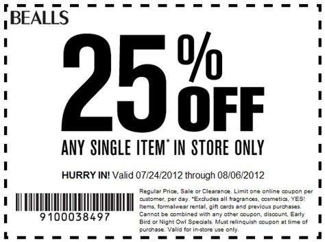printable coupons bealls outlet bealls department store 25 off printable coupon
