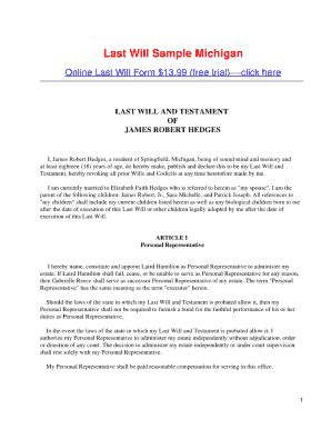 Bill Of Sale Form Michigan Last Will And Testament Form Templates Fillable Printable Sles Free Michigan Will Template