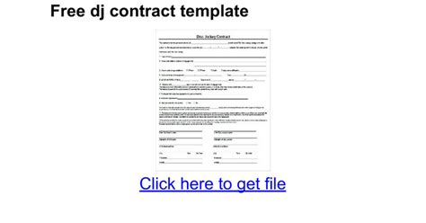disc jockey contract template free dj contract template docs