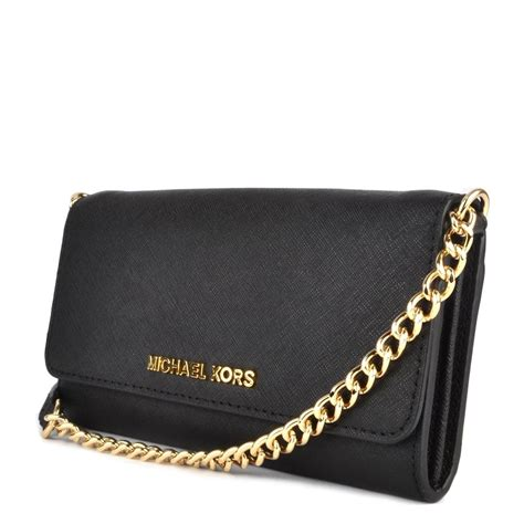 Chain Wallet by Michael By Michael Kors Jet Set Travel Black Leather Chain