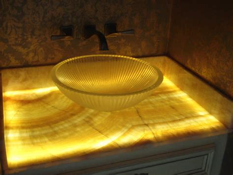 Countertop Lighting Led by 1 2 Bath Remodel With Onyx Countertop With Led Lighting