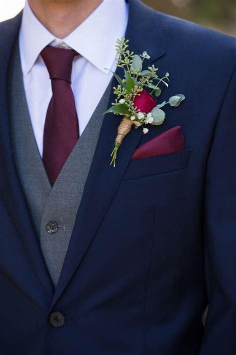 navy blue  burgundy groom wedding suit ideas