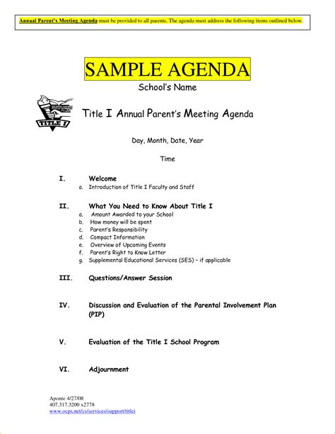 nice office meeting agenda template sample with bold blue title
