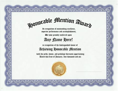 best friend certificate templates honorable mention award recognition awards certificate ebay