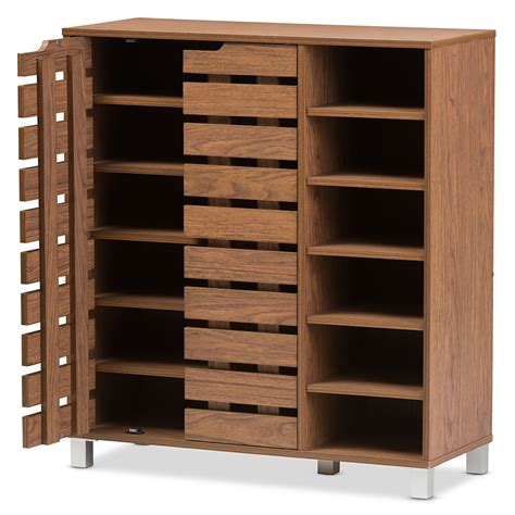 2 Door Shoe Cabinet Baxton Studio Shirley Modern And Contemporary Quot Walnut Quot Medium Brown Wood 2 Door Shoe Cabinet