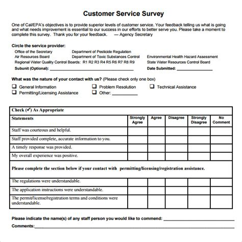 templates for surveys sle client satisfaction survey 6 documents in pdf