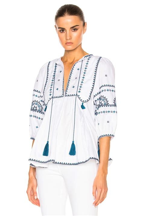 Talitha Top talitha indian peasant top in blue save 63 lyst