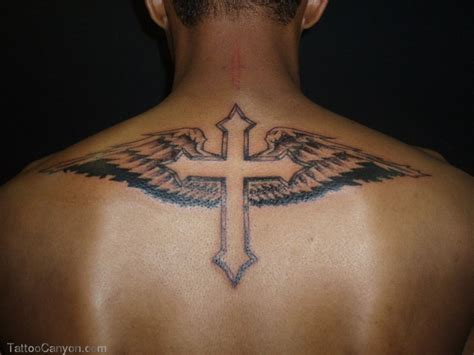 back tattoos for men wings cross tattoos for with wings on back canvas