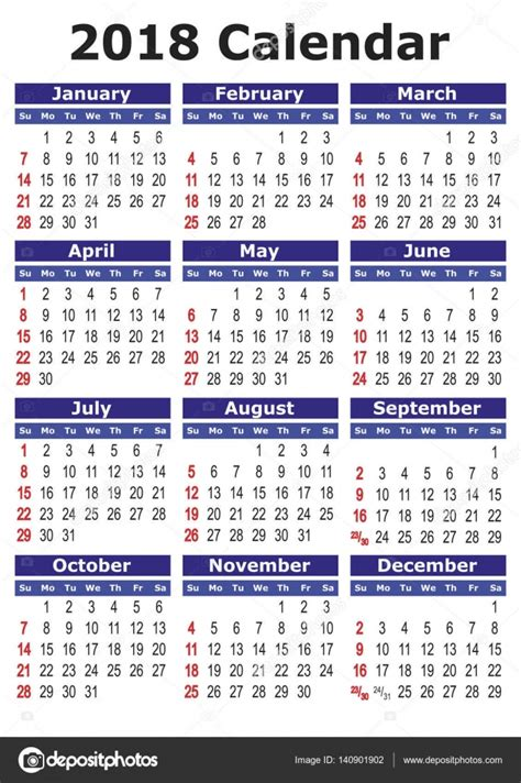 Kalendar S Blagdanima 2018 Simple Vector Calendar 2018 Stock Vector