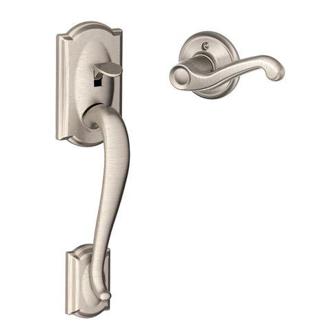 schlage camelot satin nickel entry door handle with left