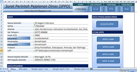 Contoh Sppd by Aplikasi Sppd Format Excel Deuniv