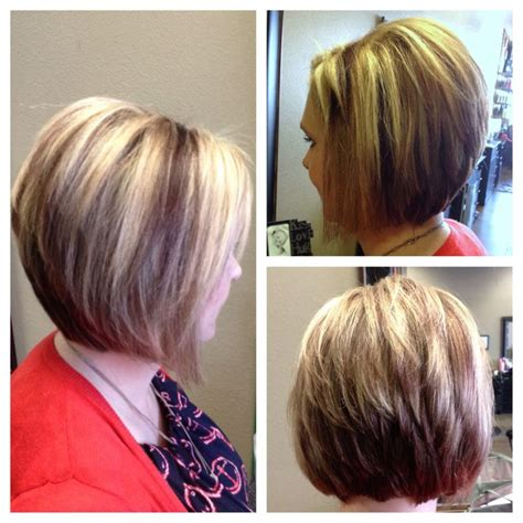chuncky bob hair cuts chunky highlights stacked bob short hair hair