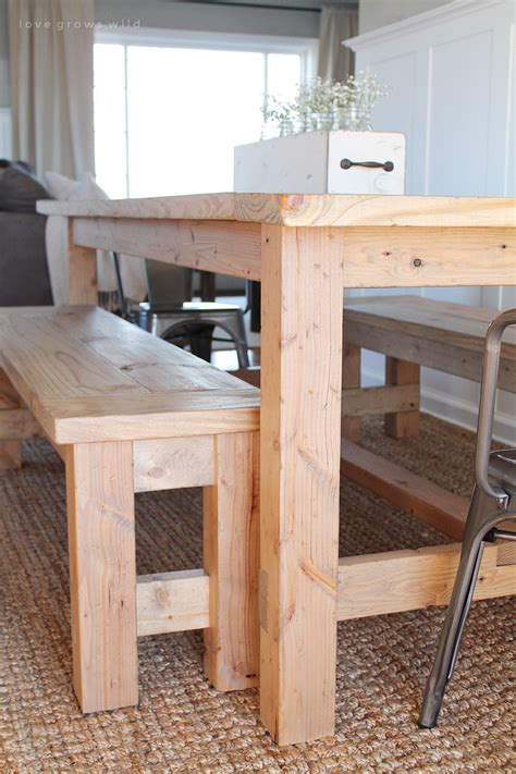 farmhouse table with bench diy farmhouse table love grows wild