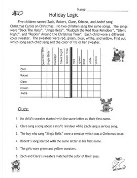 printable christmas logic puzzles for middle school christmas activities logic puzzle for gifted and talented