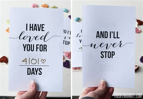 printable anniversary card ideas i have loved you for this many days free valentine or