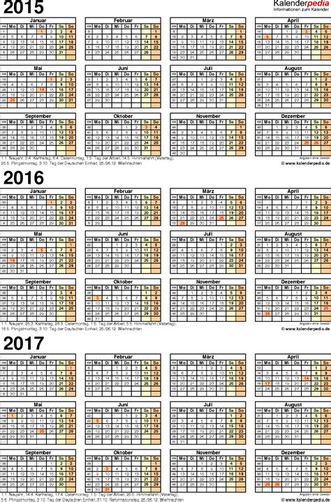 Kalender 2017 Kalenderpedia Dreijahreskalender 2015 2016 2017 Als Excel Vorlagen Zum