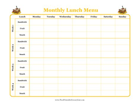 printable monthly lunch menu planner