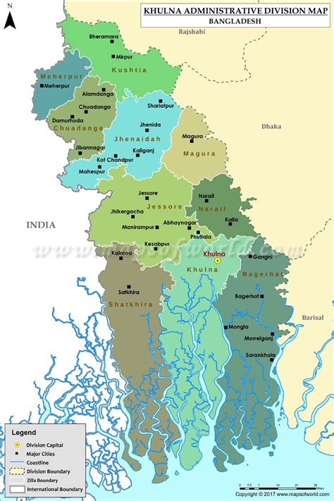 map of khulna city khulna map districts in khulna division of bangladesh