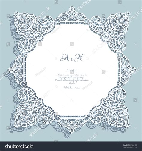 paper lace templates card cutout paper lace square frame greeting stock vector