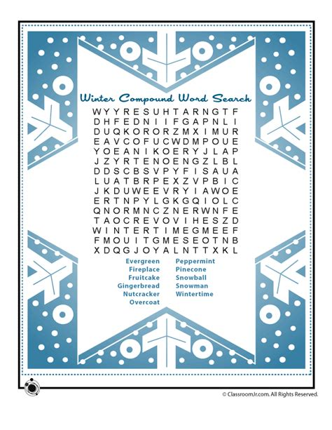 printable winter puzzle winter compound vocabulary words word search puzzle woo