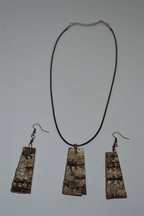 birch bark earrings necklace set